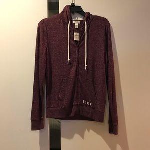 Pink Victoria secret zipper hoodie/ burgundy color